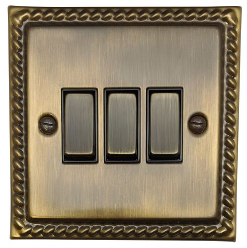 G&H MAB303 Monarch Roped Antique Bronze 3 Gang 1 or 2 Way Rocker Light Switch